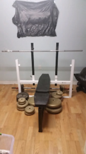 Weight Bench and 200 lbs of weights