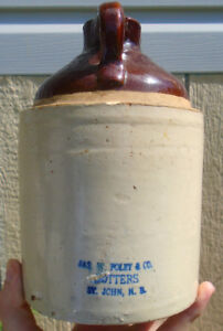 ANTIQUE 1910-20s JAS. W. FOLEY CO. (1/2 GAL.) MOLASSES CROCK