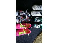 4 pairs used girls trainers adidas Nike size 5
