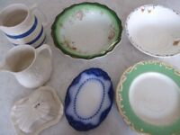 Selection of decorative vintage & retro, serving bowls, plates, jugs, butter/cheese server