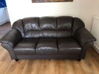 Comfortable brown leather sofas in very good condition