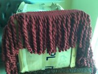 Thick red upholstery curtain trimming