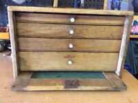 Vintage wooden tool chest & tools