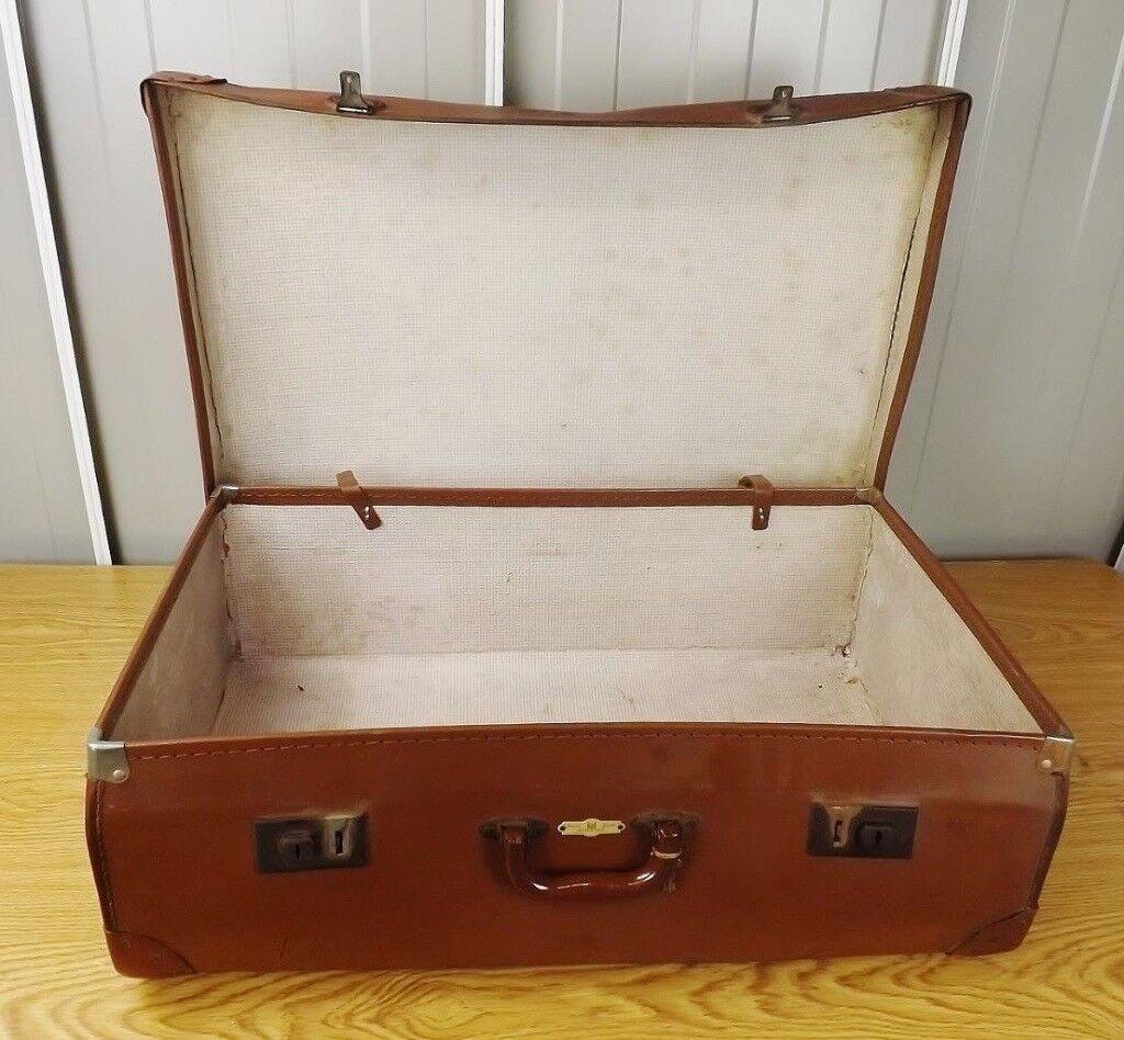 Old Vintage Brown Suitcase Storage Case Retro Prop Shop Display ...