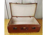 Old Vintage Brown Suitcase Storage Case Retro Prop Shop Display Wedding