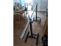 Olympic 7ft long bar with two adjustable squat racks for £60! ( Collection only)