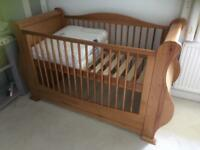 Stunning Italian import full size cot + shelving solid wood £140ono
