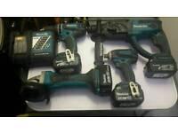 MAKITA KIT 18V Combi Drill+Impact Driver+SDS Hammer Drill+Grinder+Charger+Bag