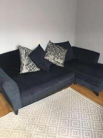DFS corner sofa - dark grey with patterned chair included