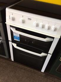 White beko 60cm ceramic hub electric cooker grill & fan oven good condition with guarantee