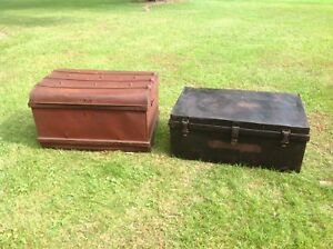 Two beautiful antique all metal steamship trunks