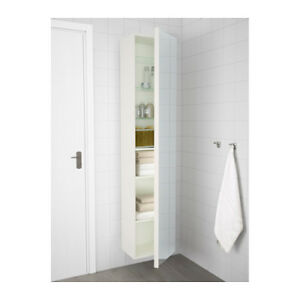 IKEA high cabinet with mirror, high gloss white NEW