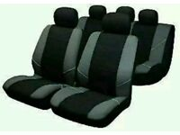 Sakura BY0802 Seat Covers Full Set - Silver/Black