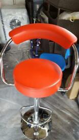 Excellent condition red bar stool in chrome