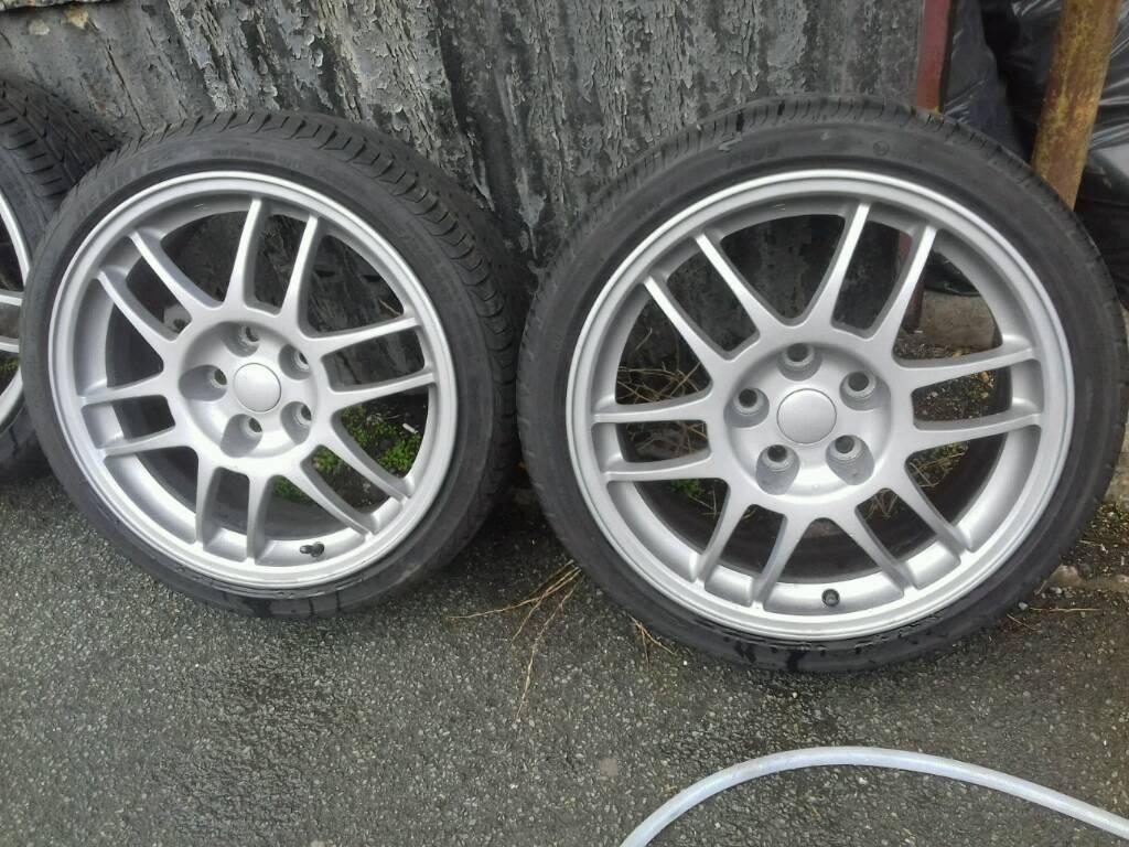 "Genuine 17"" Mitsubishi evo alloy wheels 5x113.4"