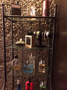 2 Black and Glass Shelving Unit. $40.00 each