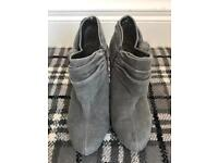 Grey bootie suede boots size 6 ladies cute winter next