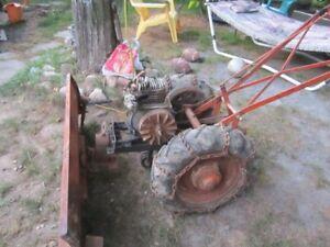 vintage  walk behind  2   wheel  garden tractor