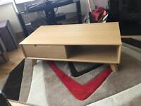 Large coffee table with drawer oak finish
