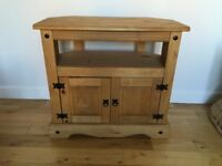 Wooden TV stand with cupboard