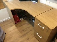 Used office desk and file cabinets