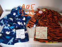 CHILDREN'S CLOTHES,SOFT JOHN LEWIS DINOSAUR BATH ROBE,DISNEY TIGGER ROBE,NEXT SHORTS