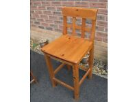 Kitchen Breakfast Bar Wooden Stool with back