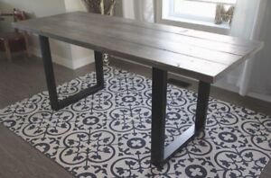 NEW Steel Frame/Rustic Top Dining Table (delivery available)
