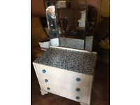 Old 60/70's three drawer dressing table with mirror.