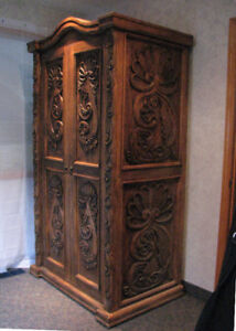 Vintage Rustic Ornate Hand Carved Wardrobe and Bookcase
