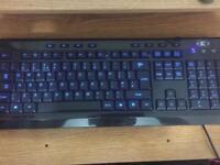 Indigo blue led keyboard