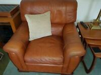 Tan Leather 3 Piece Suite with Footstool