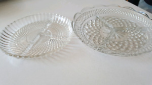 2 new crystal serving plates
