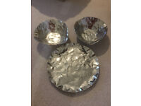 Dwell Crinkle Metal Bowls & Serving Plate