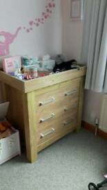 Nursery furniture 3 piece solid oak