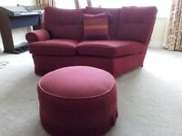 Curved sofa, chair and Footstool ex Bridgecraft in good condition buyer collects