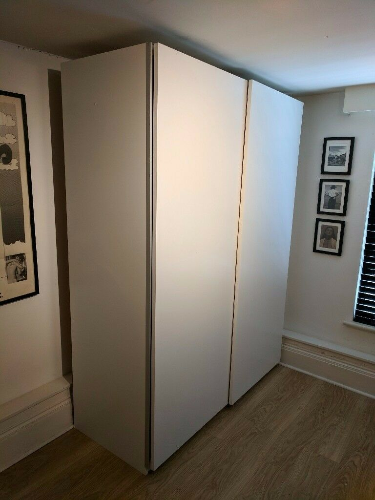 Ikea Pax Double Wardrobe White Hasvik Sliding Doors 5 Drawers Two Rails