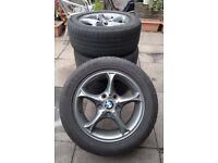 BMW gun metal grey alloy wheels with tyres 225/50 R16.