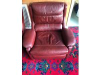 Retro Red Leather 3 seater sofa 2 x arm chairs and matching coffee table