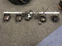 4 small lasers with T-bar and power cables - used but good working order
