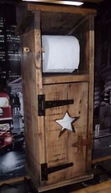 Handmade Outhouse toilet roll holder storage