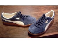 Brand new blue Suede Puma madrid trainers, never been worn before at a great price!