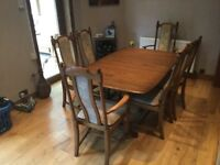 Ercol Dining Table & 6 chairs.
