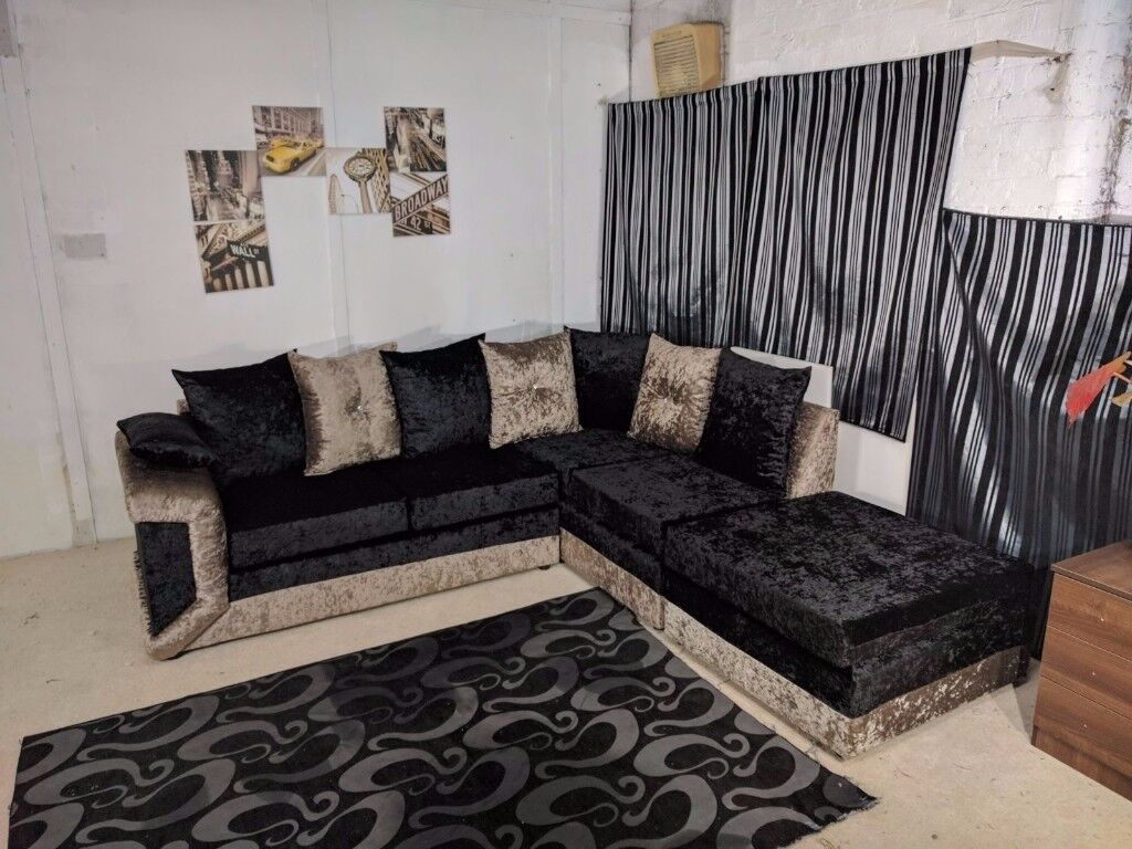 SPECIAL OFFER BRAND NEW MAX DIAMOND CRUSH VELVET CORNER SOFA OR