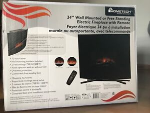 "24"" wall mounted or free standing electric fireplace with remote"