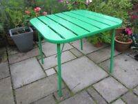 Garden table by John Lewis. Bright green powder coated steel.