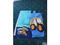 """NEXT CHILDREN'S CURTAINS 53x72"""" with duvet cover Digger truck design"""