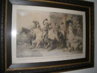Print by Alfred Strutt RBA. A riding party.