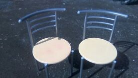 Pair of modern bistro dining chairs in good sturdy condition