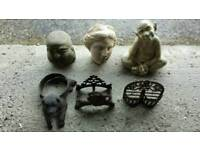 Garden ornaments cast iron and stone